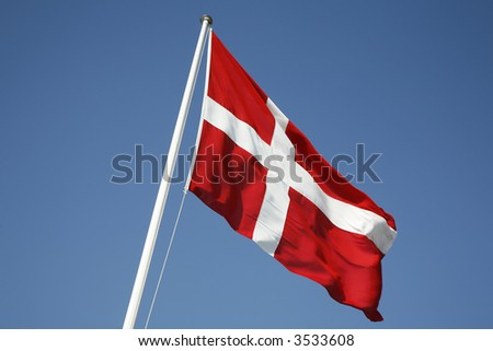 The Danish flag - Dannebrog. - stock photo