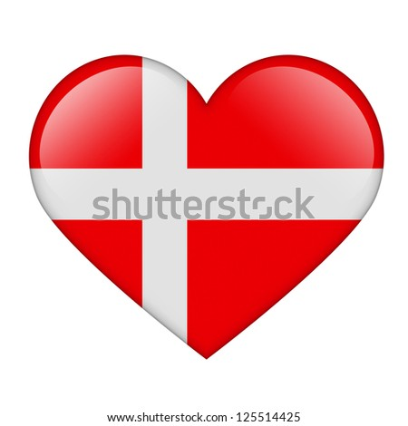 The Danish flag in the form of a glossy heart
