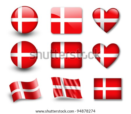 The Danish flag - set of icons and flags. glossy and matte on a white background. - stock photo