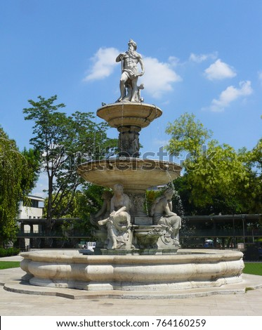 The Danubius Fountain, located in the middle of Erzsebet square, Budapest, symbolizing Hungary's rivers.