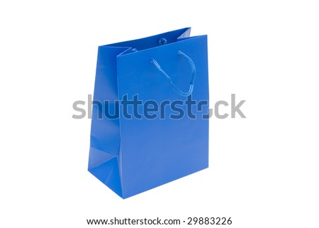 The dark blue package for purchases is isolated on a white background