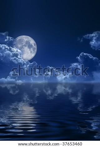 The dark blue sky and the full moon - stock photo