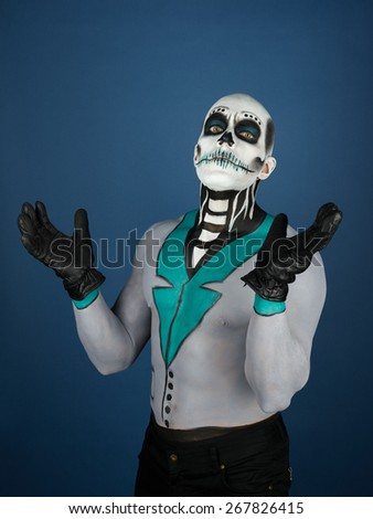 The Day of the Dead theme, painted male - stock photo