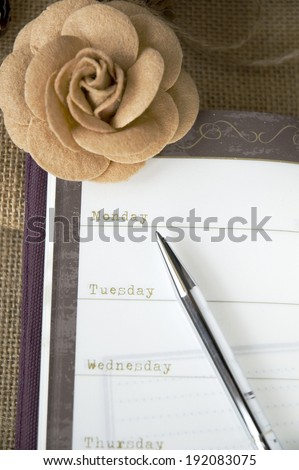 the day on planner page in vintage style