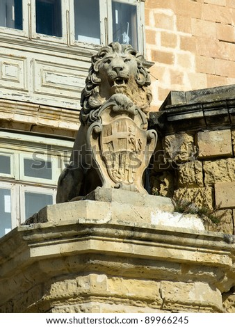 The De Vilhena Lion, so named due to the coat of arms of the Grand Master Manoel de Vilhena upon which the lion stands that is also the heraldic emblem of this Grand Master - stock photo