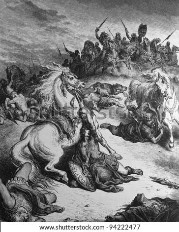 The death of King Saul. 1) Le Sainte Bible: Traduction nouvelle selon la Vulgate par Mm. J.-J. Bourasse et P. Janvier. Tours: Alfred Mame et Fils. 2) 1866 3) France 4) Gustave Doré - stock photo