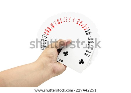 The deck of cards in hand. on white background,focused on cards - stock photo