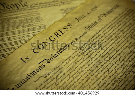 The Declaration of Independence and Constitution of the United Sates of America - stock photo