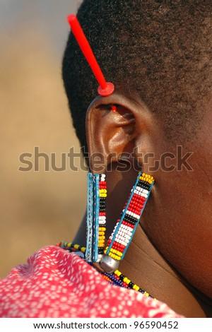 The decorated ear of a Masai Mara - stock photo