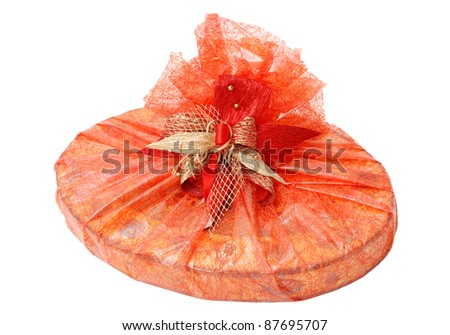 The decorated gift on the white background