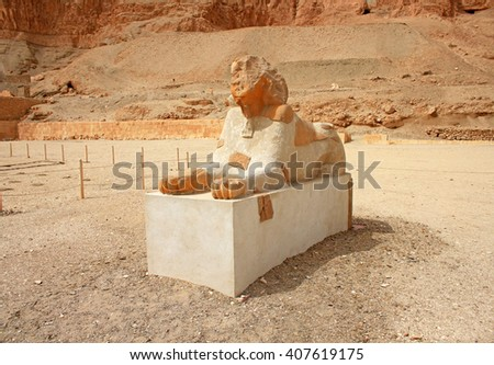 The decoration of Hatshepsut Temple in Luxor which is located by the Valley of the King in Luxor. Egypt - stock photo