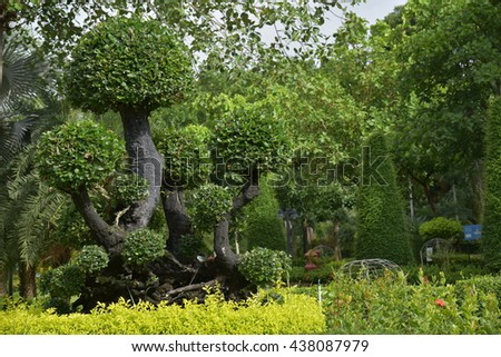 The decorations in the garden ,Landscape of park - stock photo