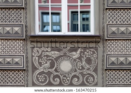 The decorations on the tenement houses - Gdansk, Poland. - stock photo