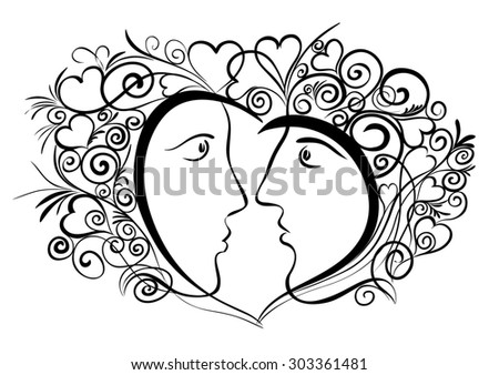 "The decorative composition ""love"", the image of the heart, man and woman and ornamentation around./ The Love"