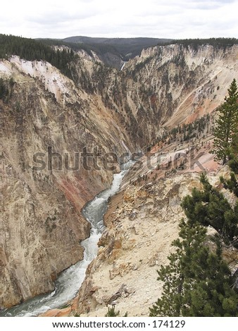 The deepness of Yellowstone canyon Wyoming USA - stock photo