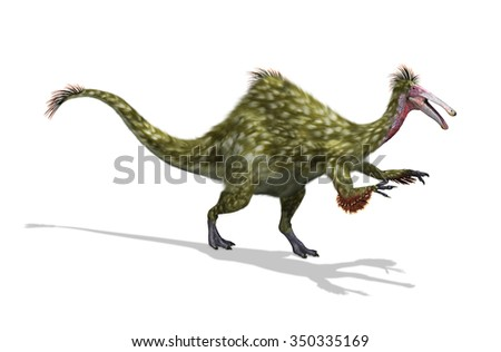 The Deinocheirus was an ostrich-like dinosaur that lived during the Cretaceous Period - 3D render with digital painting. - stock photo