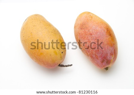 The delicious mango on the white background
