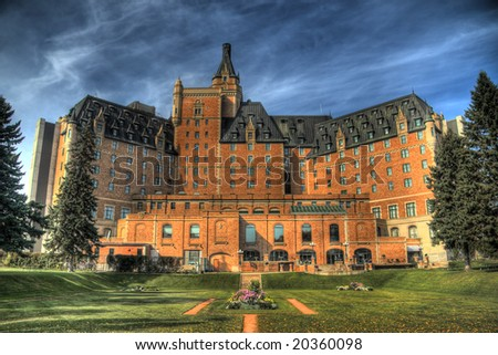 The Delta Bessborough Hotel, a well know Saskatoon landmark. HDR image created by combining three different exposures. Minor chromatic aberrations are inevitable in this type of processing. - stock photo