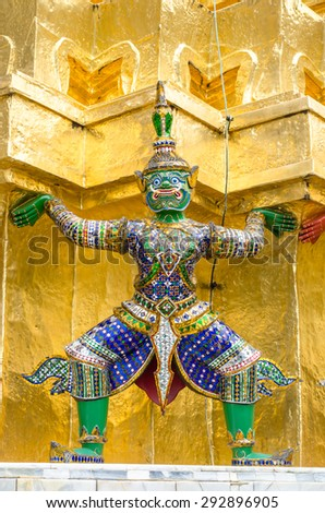The demon guardian in the Wat Phra Kaew Bangkok Thailand