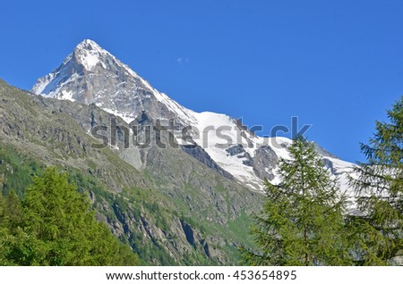 The Dent Blanche in the southern swiss alps, viewed from the north in the summer - stock photo