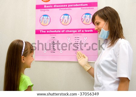 The dentist shows the little girl the poster with the schedule of change of a teeth - stock photo