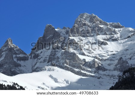 The Dents du Midi in the Swiss Alps above the resort of Champery