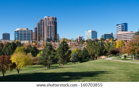 The Denver Tech Center skyline, or DTC, in Autumn with beautiful trees - stock photo