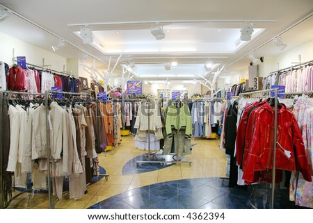 The department of upper clothes in shop - stock photo