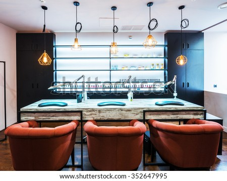 The depiction of nail salon - stock photo