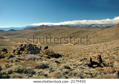 The desert on the Eastern slopes of the Sierra Nevada Mountain Range in California