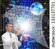 The designing cosmic Internet technologies - stock photo