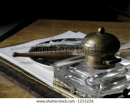 The desk with the things for writing - stock photo