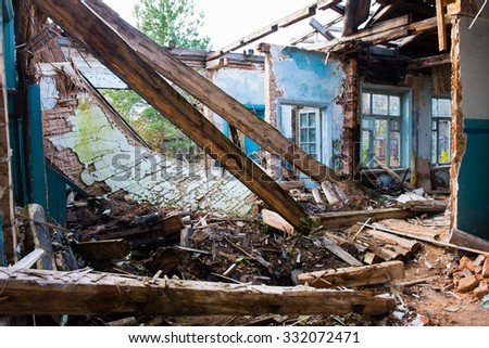 the destroyed house - stock photo