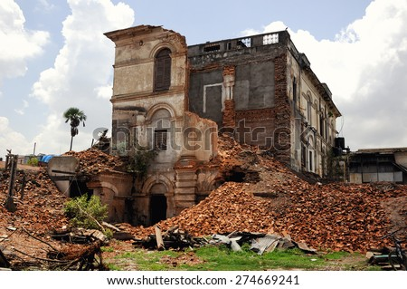 The destroyed mansion in Katmandu. Nepal - stock photo