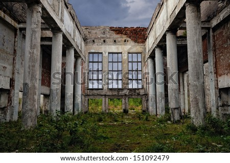 The destroyed old building - stock photo