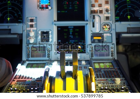 The detail of control panel in the cockpit room of the commercial airlines, selective focus.