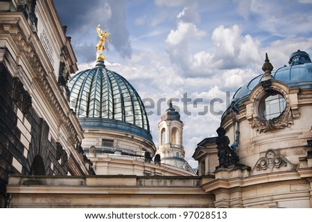 The detail of cupolas on Academy of Fine Arts and Frauenkirche - Dresden - stock photo
