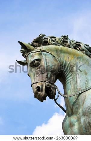The detail of equestrian statue of Cosimo I de ' Medici, Grand Duke of Tuscany  - stock photo
