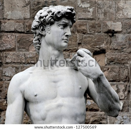 The detail of famous statue of David by Michelangelo - stock photo