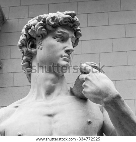 The detail of famous statue of David by Michelangelo. - stock photo