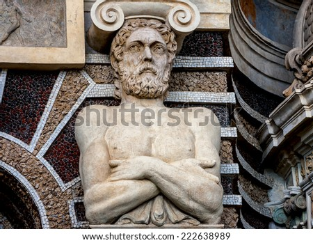The detail of Organ Fountain in Tivoli, Italy