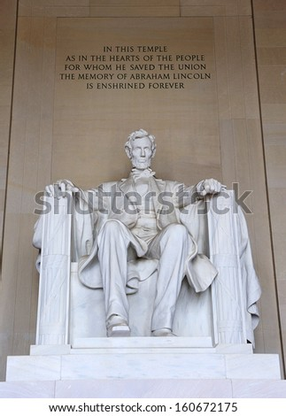 The detail of the Lincoln Memorial in Washington D.C.