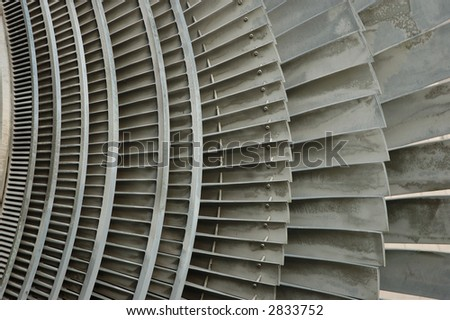 the detail shot of an atomic power plant turbine - stock photo