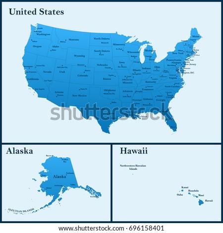 Detailed Map Usa Including Alaska Hawaii Stock Vector - Us largest cities map