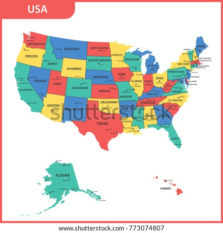 Detailed Map USA Regions States Cities Stock Illustration 773074807