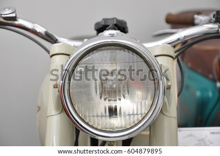 The details of the old motorcycle closeup