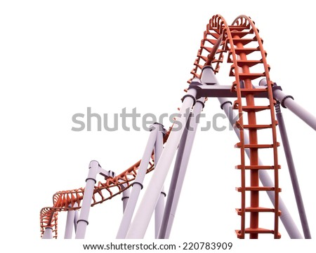 The details of The Roller Coaster in the park. - stock photo
