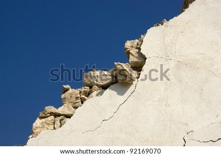 the devastation of the earthquake - stock photo