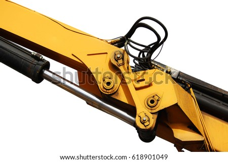 The device of a yellow loader on the railway. Hydraulic system on a white background.