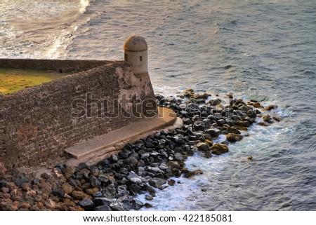 The Devil s Guerite sentry box at Fort San Cristobal in San Juan, Puerto Rico - stock photo